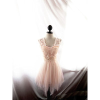 Elven Cream Gown Ballerina Whimsical Tulle Beige Lotr Romantic Jazz Age Rehearsal Dinner Lace Pearl Sleeves Nude Great Gatsby Ethereal Dress