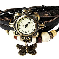 Misslo® Boho Chic Vintage Inspired Bracelet Leather Rope Watch with Butterfly (Brown)