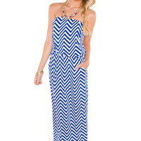 Libby Chevron Maxi Dress - Blue