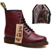 New England Style Winter Plush genuine leather Martin Boots Martin Shoes Men&Women Brand  Designer Motorcycle Boots Size 35-44