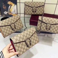 Gucci Women Print Shopping Leather Metal Chain Crossbody Shoulder Bag Four Color