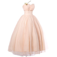 Vintage 1950's Pink Tiered Tulle Formal Dress with Flowers