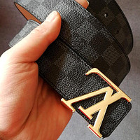 Louis Vuitton LV Tide brand classic checkerboard men and women models wild smooth buckle belt Black