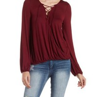 Lace-Up Surplice Top with Bloused Sleeves by Charlotte Russe