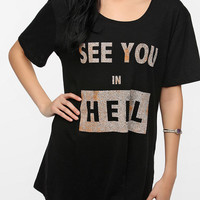 Urban Outfitters - Feather Hearts See You In Hell Tee