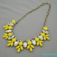 cute yellow resin necklace, bubble crystal  handmade bib Necklace/glitter Statement  choker,bridesmaid gifts,unique Beaded  Jewelry royal