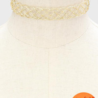"13"" gold wire braided choker collar bib necklace .40"" earrings"