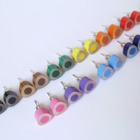 Supermarket: color pencil ear studs, the triangle version in candy colors from Huiyi Tan Handmade Designer Jewelry