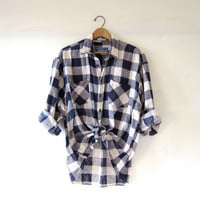 Vintage Checkered Flannel / Grunge Shirt / Boyfriend button up shirt / Tomboy flannel