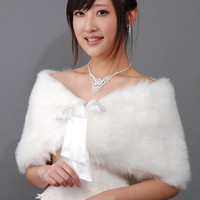 Trendy Bride Wedding Dress Faux Fur Shawl Wedding Shawl with Streamer White = 1930041412