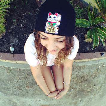 Lucky Cat Beanie by PushiingDaisies on Etsy