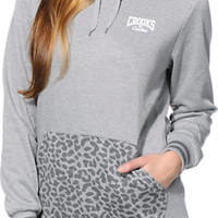 Crooks and Castles Girls Animal Pocket Grey Pullover Hoodie
