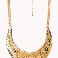 FOREVER 21 Dimpled Curved Bib Necklace Gold One