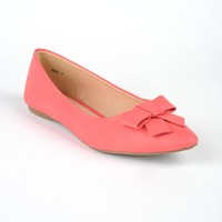 Bow Toe Flat in Coral Pink   Pinup Girl Clothing