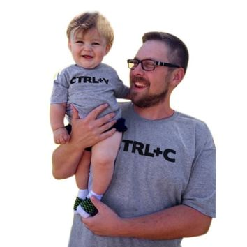 Parenting father son clothes Toddler Infant Baby Kids Girls Boys Letter Printing T-Shirt Top Blouse Clothes Drop ship
