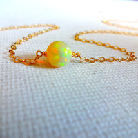 High Color Play Round Ethiopian Welo Opal Stone Solitaire Pendant Necklace & 925 Sterling Silver or 14k Rose Gold Fill Chain