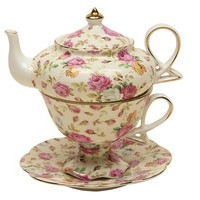 Gracie China by Coastline Imports 4-Piece Porcelain Tea for One, Stacked Teapot Cup Saucer, Cream Cottage Rose Chintz