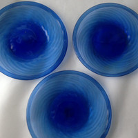 Blue Hand-Blown Plates-Set of 6- Beautiful Dessert Plates or Salad Plates