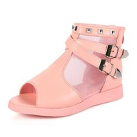 Girls Flat Casual High Tops Lace Breathable Peep Toe Squishy Sandals
