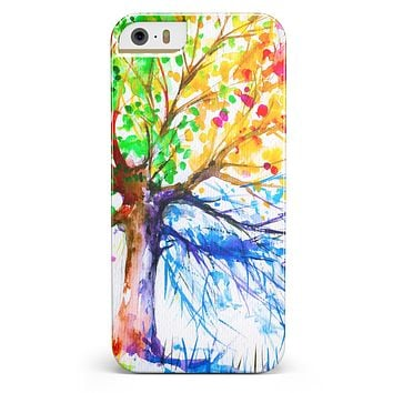 Abstract Colorful WaterColor Vivid Tree V3 iPhone 5/5s or SE INK-Fuzed Case