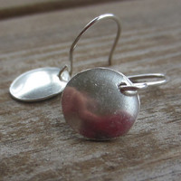 Silver Disc Earrings, Silver Earrings, Small Silver Earrings