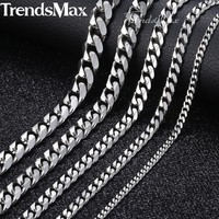 3-9mm Men's Stainless Steel Cuban Link Chain Necklace Gold Black Silver Chain 45-60cm 2018 Fashion Long Necklaces for Men KNM07