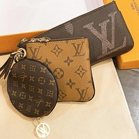 Hipgirls LV Louis Vuitton Hot Sale New Women's Printed Letter Purse Three-Piece Set