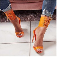 Women Sexy Transparent Open Toe Lace Up High Heel Sandals