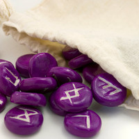 Polymer clay Rune set pick your color - elder futhark - bag and meaning sheet included - divination