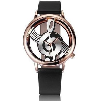 Musical Note Leather Wrist Watch