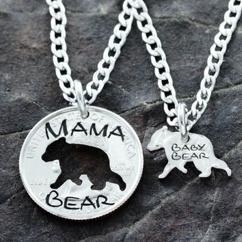 Mama and Baby Bear, Mother Child Necklaces, hand cut coin by Namecoins