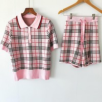 BURBERRY Summer Popular Woman Casual Classic Plaid Short Sleeve Top Shorts Two-Piece Set Pink