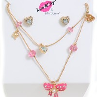 Betsey Johnson Womens Bows Hearts Frontal Necklace Earrings Gift Set