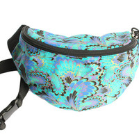 Peacock Feather Fan Print - Cute Fanny Pack - Hip Waist Bag for travel, sport, and hiking