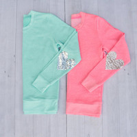 Sequin Sparkly Heart Elbow Patch Sweatshirt Jumper Mint or Pink