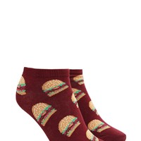 Burger Print Ankle Socks
