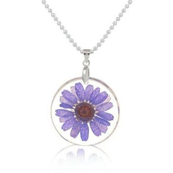 Real Dried Purple Flower Round Resin Silver Tone Necklace