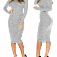 Turtle Neck Long Sleeve Solid Color Bodycon Dress