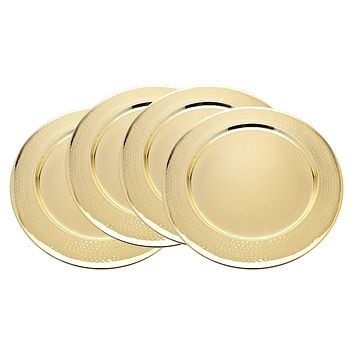 """S/4 Gold Hammered 13"""" Chargers"""
