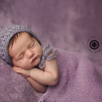 RTS - Mohair Newborn Bonnet in Lavender  - Ready to Ship