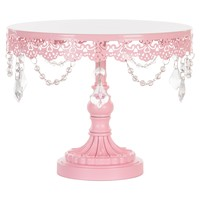 10 Inch Crystal-Draped Round Metal Cake Stand (Pink)