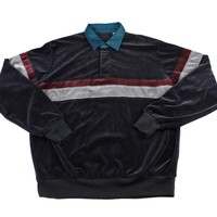Vintage 90s Velour Style Collared Pullover Long Sleeve Shirt Mens Size Medium