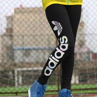 """Adidas"" Women Multicolor Clover Letter Print Casual Tights Stretch Long Sweatpants"