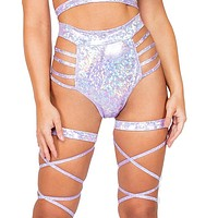 Iridescent Side Strapped High Waist Shorts