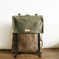 Cow Leather Canvas Backpack, BACKPACK, Women's, Men's leather bag canvas Bag,leather canvas Briefcase,Messenger bag,school bag