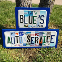 BUSINESS NAME Personalized Custom Recycled LICENSE Plate Sign Company Name