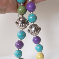 Multi color Necklace, Stone Bead Necklace, Turquoise Purple Necklace, Beaded Necklace