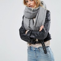 ASOS Lambswool Oversized Scarf with Tassels at asos.com