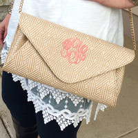 Monogramed Straw Natural Clutch Cross Body Purse  Font shown MASTER CIRCLE in coral