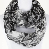 Classic Floral Infinity Scarf